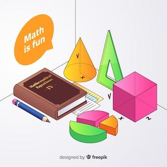 Fundo de elementos de matemática isométrica