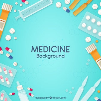 Fundo de elementos de medicina em estilo plano