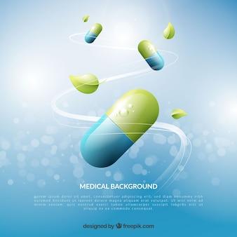 Fundo de elementos de medicina em estilo realista