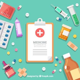 Fundo de elementos de medicina em estilo simples