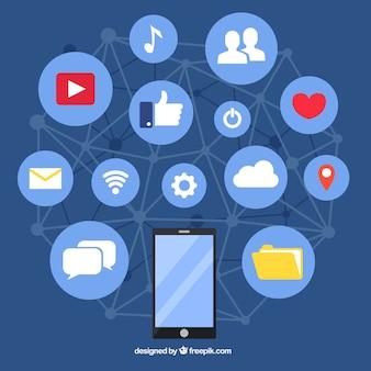 Fundo de elementos de mídia social em estilo plano