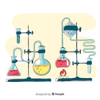 Fundo de elementos de química mão desenhada