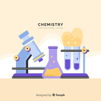 Fundo de elementos de química plana