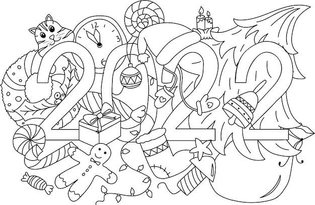 Fundo de elementos de rabiscos de letras de mão de ano novo de 2022. ilustração vetorial, página para colorir