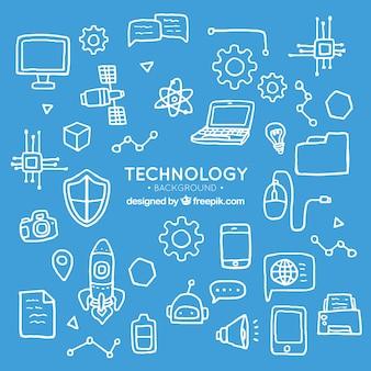 Fundo de elementos de tecnologia em estilo desenhado a mão