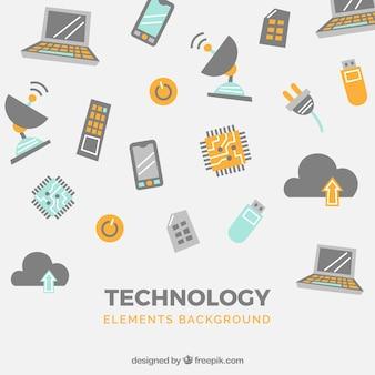 Fundo de elementos de tecnologia em estilo plano