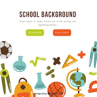 Fundo de elementos escolares em estilo desenhado a mão