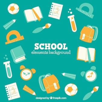 Fundo de elementos escolares em estilo plano