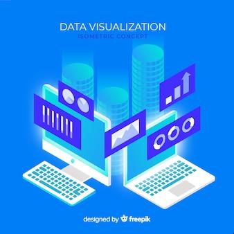 Fundo de elementos isométricos de visualização de dados