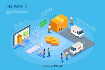 Fundo de elementos isométricos e-commerce