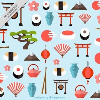 Fundo de elementos japoneses em estilo plano