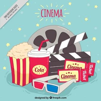 Fundo de elementos para desfrutar de um filme