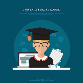 Fundo de elementos universitários em estilo plano