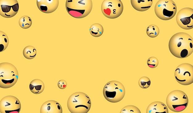 Fundo de emoji de mídia social
