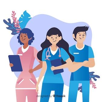 Fundo de equipe de enfermeira de mão desenhada