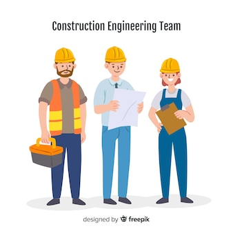 Fundo de equipe de engenharia plana
