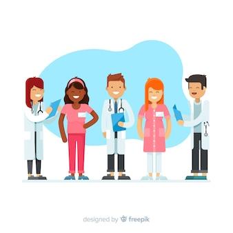 Fundo de equipe enfermeira plana