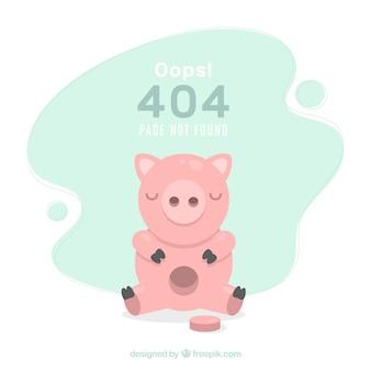 Fundo de erro 404 com cofrinho em estilo simples