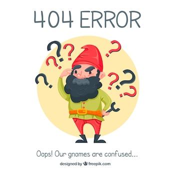 Fundo de erro 404 com gnomo agradável