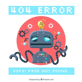 Fundo de erro 404 com um robô