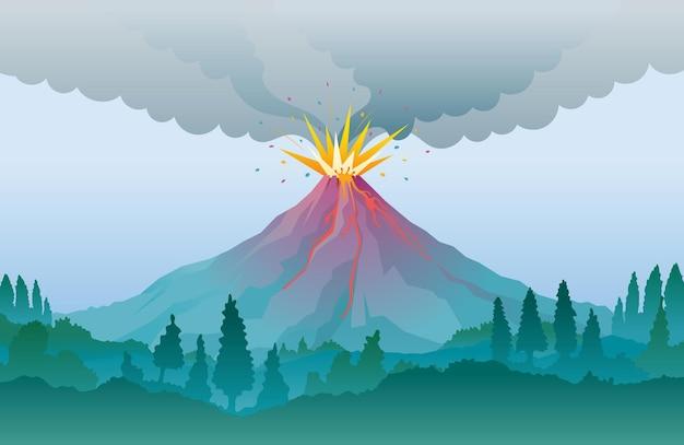 Fundo de erupção de vulcão, fumaça e fluxo de lava