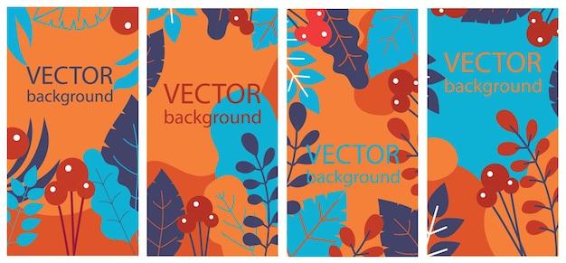Fundo de ervas floral abstrato de vetor definido com folhas de outono e flores para banners, pôsteres, modelos de design de capa e papéis de parede em design plano