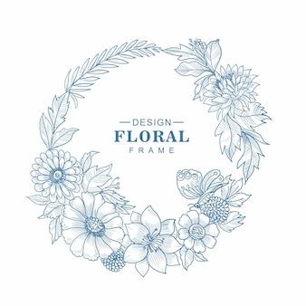 Fundo de esboço de lindo quadro floral circular decorativo