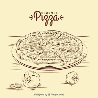Fundo de esboço de pizza vintage