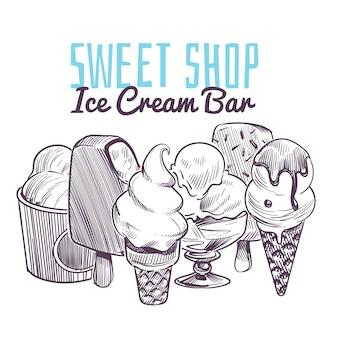 Fundo de esboço de sorvete. sobremesas cremosas congeladas desenhadas à mão, sorvete de cone de wafer com cobertura de chocolate e frutas nozes menu retrô