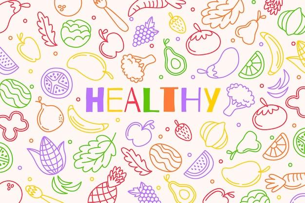 Fundo de esboços de frutas e legumes