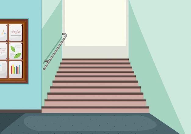 Fundo de escadaria do corredor vazio