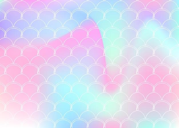 Fundo de escala gradiente com sereia holográfica. transições de cores brilhantes. bandeira de cauda de peixe e convite. padrão subaquático e mar para festa de menina. cenário colorido com escala de gradiente.