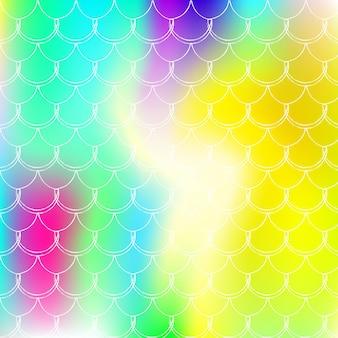 Fundo de escala gradiente com sereia holográfica. transições de cores brilhantes. bandeira de cauda de peixe e convite. padrão subaquático e mar para festa de menina. pano de fundo elegante com escala de gradiente.