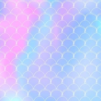 Fundo de escala gradiente com sereia holográfica. transições de cores brilhantes. bandeira de cauda de peixe e convite.