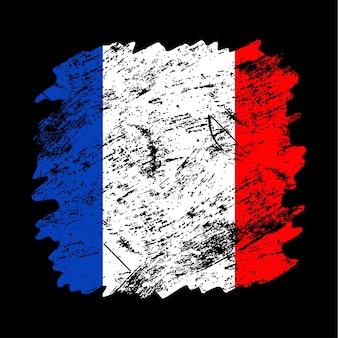 Fundo de escova do grunge da bandeira da frança. antiga ilustração em vetor bandeira escova. conceito abstrato de fundo nacional.