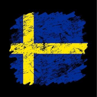Fundo de escova do grunge da bandeira da suécia. antiga ilustração em vetor bandeira escova. conceito abstrato de fundo nacional.