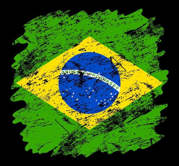 Fundo de escova do grunge da bandeira do brasil. antiga ilustração em vetor bandeira escova. conceito abstrato de fundo nacional.