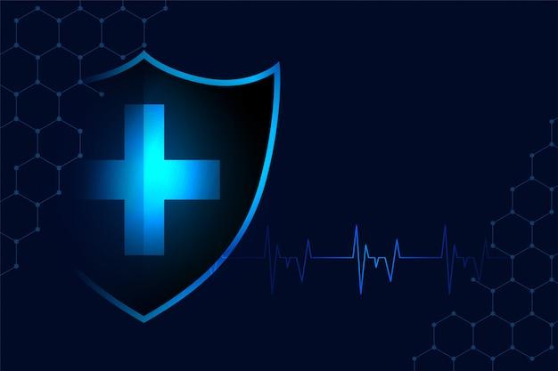 Fundo de escudo de proteção médica com espaço de texto