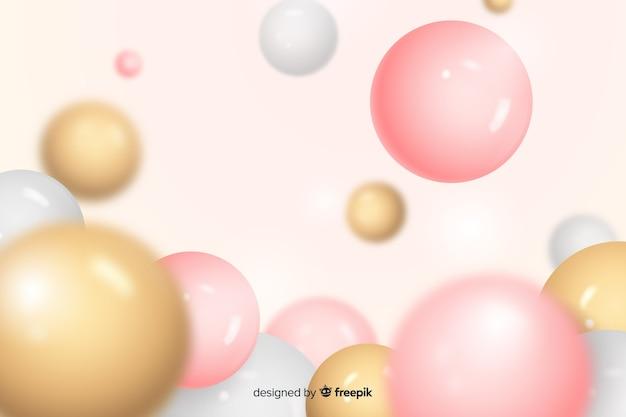 Fundo de esferas de plástico brilhante realista
