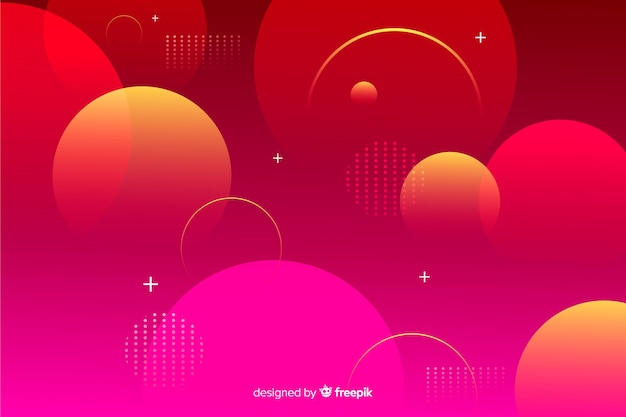Fundo de esferas geométricas gradiente vermelho