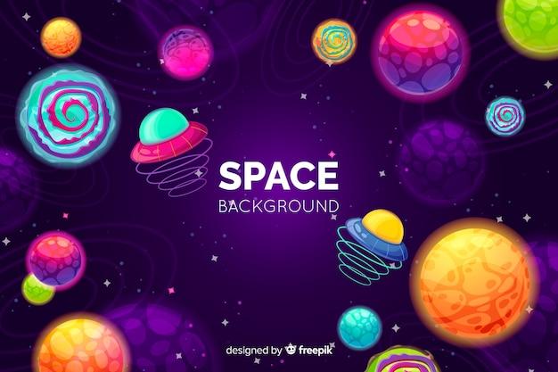 Fundo de espaço colorido de mão desenhada