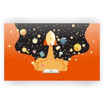 Fundo de espaço com estrelas e disciplinas escolares