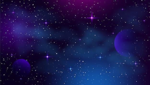 Fundo de espaço com forma abstrata e estrelas.