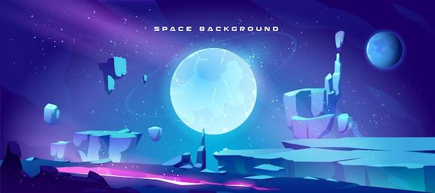 Fundo de espaço com paisagem do planeta