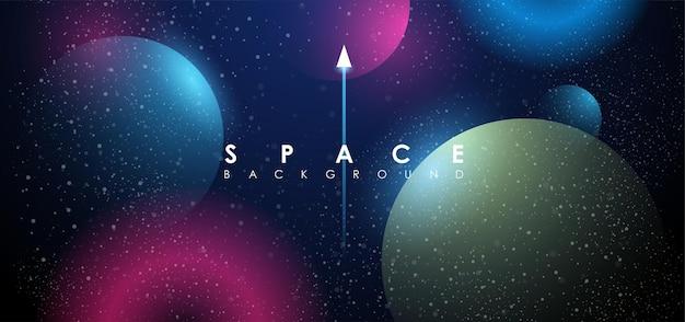 Fundo de espaço criativo com forma e planetas abstratos.