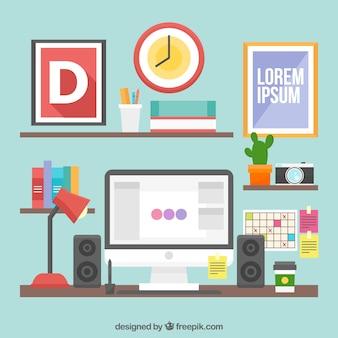 Fundo de espaço de trabalho de design gráfico com mesa e ferramentas