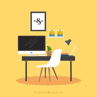 Fundo de espaço de trabalho de design gráfico na mão desenhada estilo