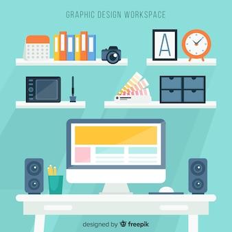 Fundo de espaço de trabalho de designer gráfico
