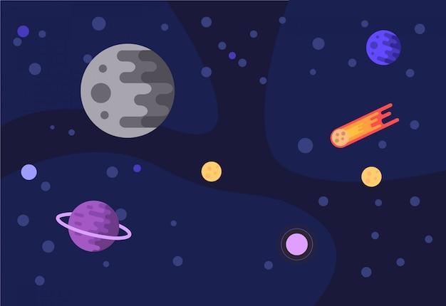 Fundo de espaço e planetas.