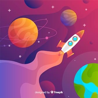 Fundo de espaço gradiente com foguete